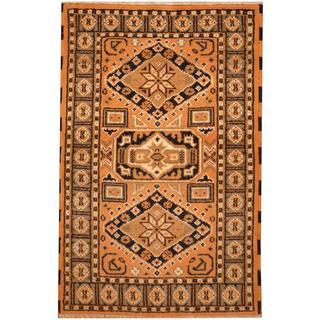 Herat Oriental Indo Hand-knotted Kazak Gold/ Ivory Wool Rug (3' x 5')