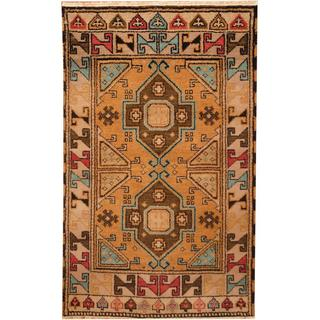 Herat Oriental Indo Hand-knotted Kazak Tan/ GreyWool Rug (3' x 5')
