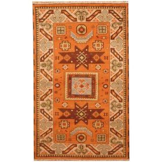 Herat Oriental Indo Hand-knotted Kazak Orange/ Beige Wool Rug (3' x 5')