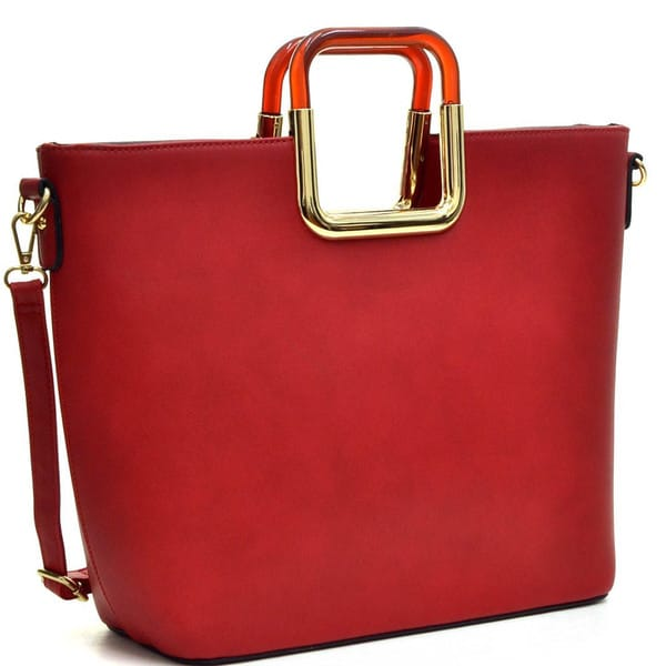 Dasein Square-handle Emblem Tote with Removable Shoulder Strap