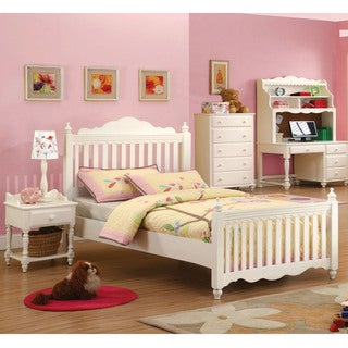 Furniture of America Cornelia White Picket Fence Style 3-Piece Bed Set