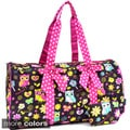 Sazy Bee Designs Owl and Floral Print Quilted Cotton Duffel Bag