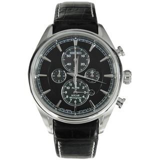 Seiko Men's SSC211P2 Solar Black Dial Chronograph Watch