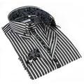 John Lennon Men's Grey Striped Paisley Trim Sport Shirt