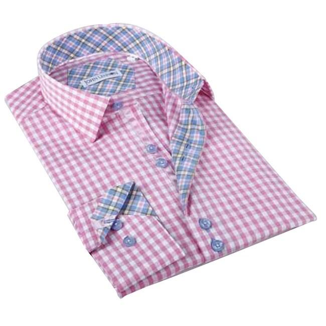 Overstock.com John Lennon Men's Pink/ White Checkered Button-front Sport Shirt