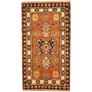 Herat Oriental Indo Hand-knotted Kazak Tan/ Ivory Wool Rug (3' x 5')