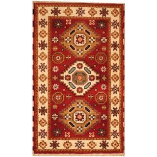 Herat Oriental Indo Hand-knotted Kazak Red/ Ivory Wool Rug (3' x 5')