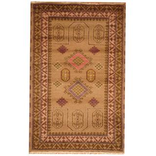 Herat Oriental Indo Hand-knotted Kazak Olive/ Ivory Wool Rug (3' x 5')