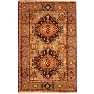 Herat Oriental Indo Hand-knotted Kazak Grey/ Light Blue Wool Rug (3' x 5')