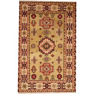 Herat Oriental Indo Hand-knotted Kazak Olive/ Beige Wool Rug (3' x 5')