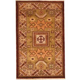 Herat Oriental Indo Hand-knotted Kazak Green/ Beige Wool Rug (3' x 5')
