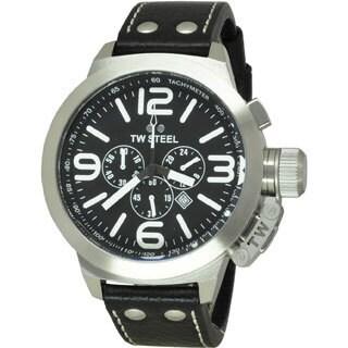TW Steel Men's Stainless Steel TW4 Canteen Black Dial Watch