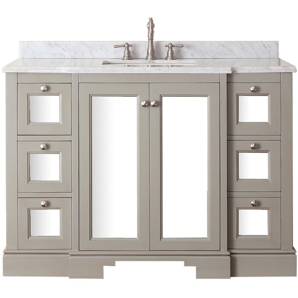 ceramic top 48 inch single sink bathroom vanity with mirror and faucet