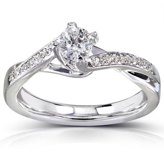 Annello 14k White Gold 1/3ct TDW Round Diamond Engagement Ring (HI, I1-I2)