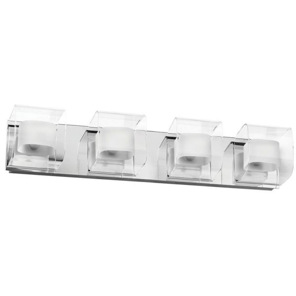 Polished Chrome Clear/ Frosted White Glass 4-light Vanity Fixture