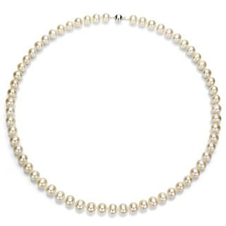 DaVonna Silver White Freshwater Pearl 18-inch Necklace (6-7 mm)