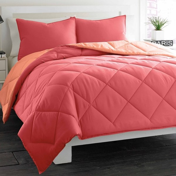 City Scene Coral Reversible 3-piece Comforter Set