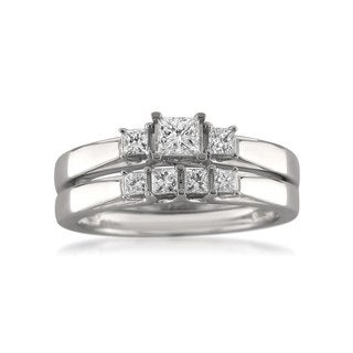14k White Gold 1/2ct TDW Princess-cut Diamond Bridal Ring Set (G-H, SI1-SI2)
