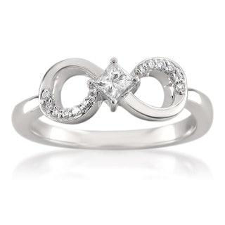 Brides Across America 14k White Gold 1/4ct TDW Princess-cut Diamond Infinity Symbol Ring (H-I, I1-I2)