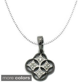Gioelli Sterling Silver Diamond Accent Clover Necklace