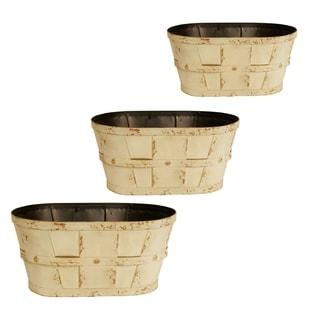 Cream 4-inch Metal Planters (Set of 3)