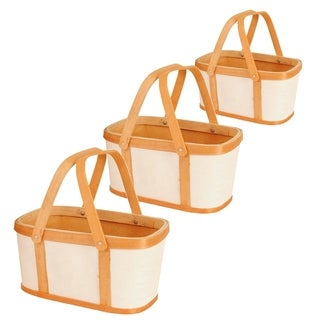 Wood and Paper Basket (Set of 3)