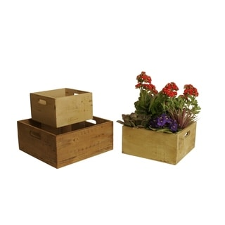 Wald Imports Square Distressed Rustic Wood Crates (Set of 3)