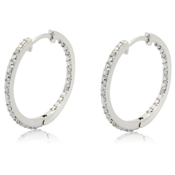 Gioelli Sterling Silver 1/6ct Sparkling Diamond Hoop Earrings