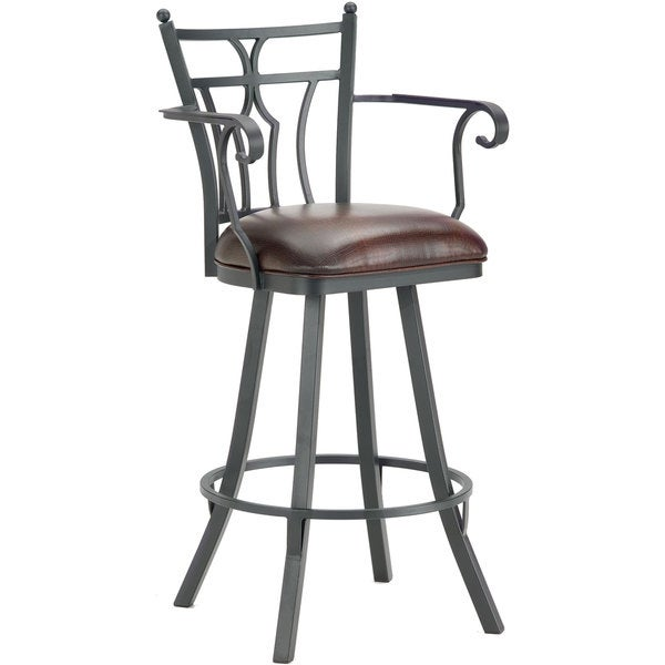 Randle Stainless Steel Swivel Counter Stool With Arms