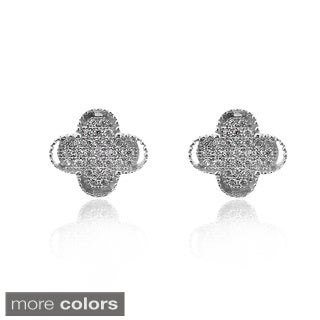Gioelli Sterling Silver Pave-set Leverback Clover Earring
