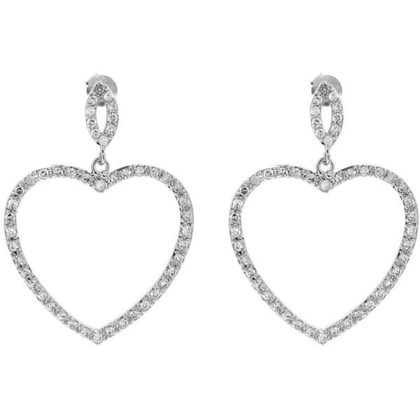 Gioelli Sterling Silver Cubic Zirconia Cut-out Heart Dangling Earrings