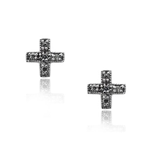 Gioelli Sterling Silver Cross Cubic Zirconia Studs