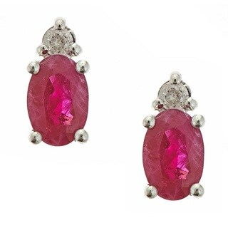 Anika and August 14k White Gold Ruby and White Diamond Accent Earrings