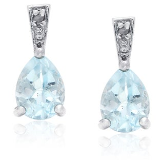 Dolce Giavonna Sterling Silver Blue Topaz and Diamond Accent Earrings