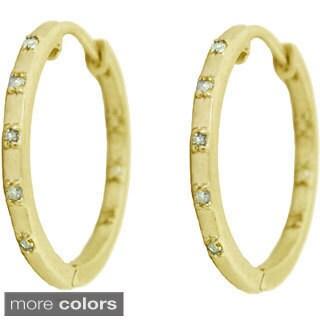 Gioelli Sterling Silver 1/5ct TDW Diamond Satin Finish Hoop Earrings (H-I, I2-I3)