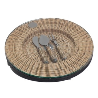 Montecito Round Wicker Cheese Tray with Utensils