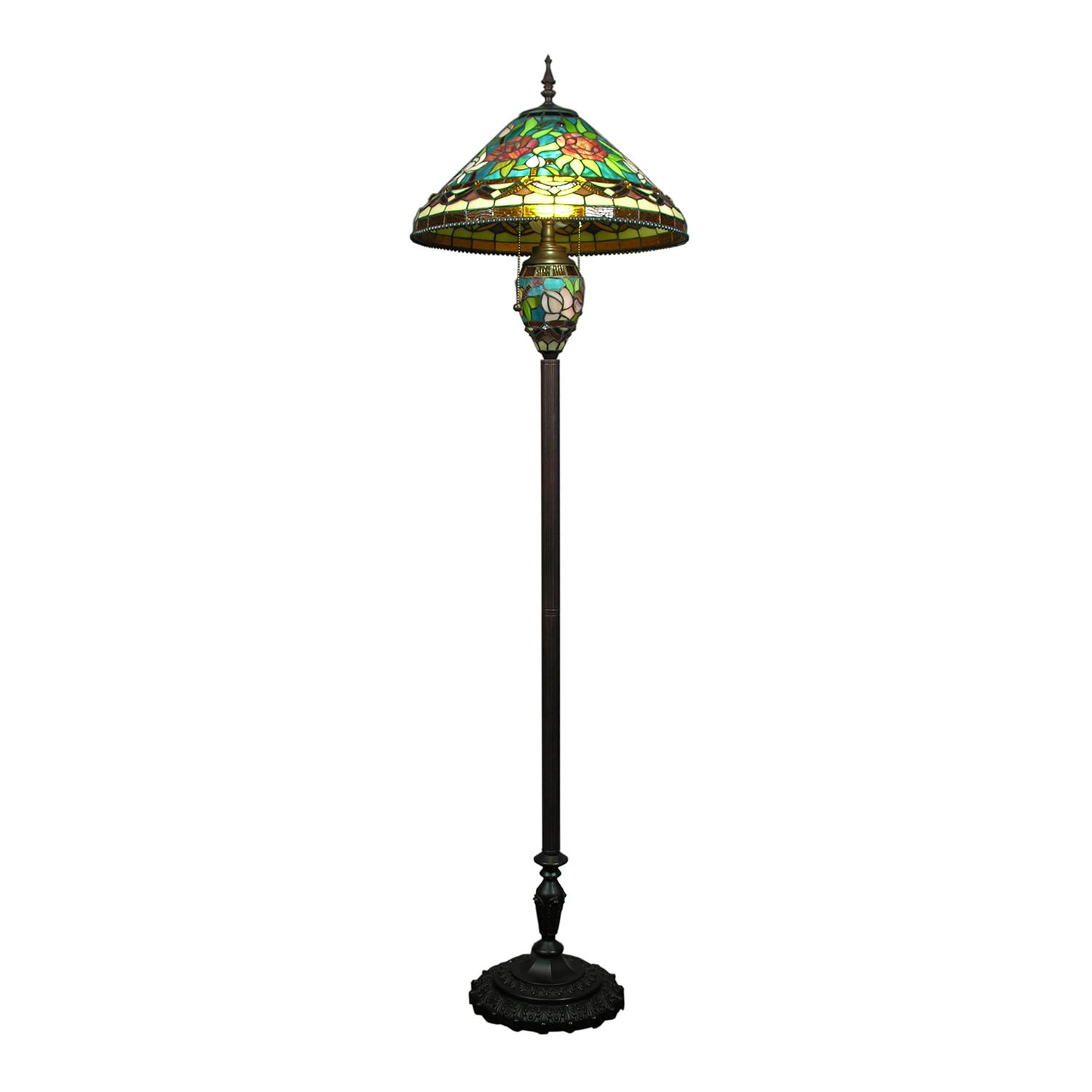 tiffany style stained glass 3 light floor lamp. Black Bedroom Furniture Sets. Home Design Ideas