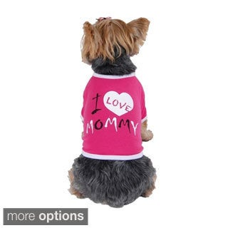 "Insten Pink & White ""I Love Mommy"" Dog T-Shirt"