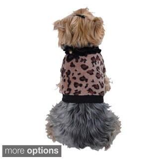 Insten Fleece Leopard Print Dop Pullover/Sweatshirt