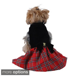 Pet Dog Puppy Velvet Top with Plaid Checkered Dress Skirt Clothes