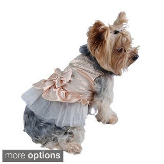 Pet Dog Puppy Gold Lace Satin Tulle Pullover Party Dress with Faceted Studs Top