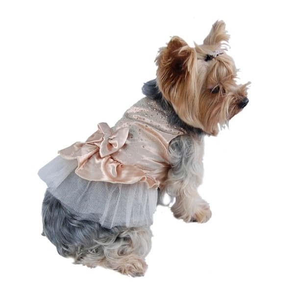 Insten Pet Dog Puppy Gold Lace Satin Tulle Pullover Party Dress with Faceted Studs Top