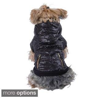Puppy Dog Pet Snap Closure Coat Leopard Trim Hoodie Winter Warm Clothes