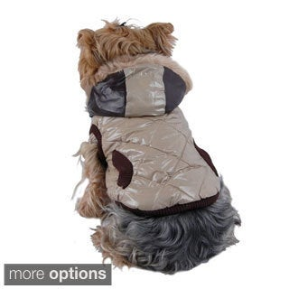 Pet Dog Puppy Apparel Trim Quilted Jacket with Faux Vest Hoodies Jacket Coat