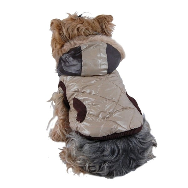 Insten Pet Dog Puppy Apparel Trim Quilted Jacket with Faux Vest Hoodies Jacket Coat