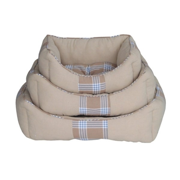 Insten Pet Puppy Cat Comfy Cozy Cave Checkered Shell Woven Washable Dryable Plush Beds