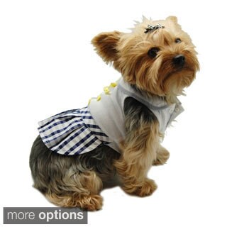 Insten Pet Dog Puppy Plaid Checkered Skirt Dress Clothes Apparel