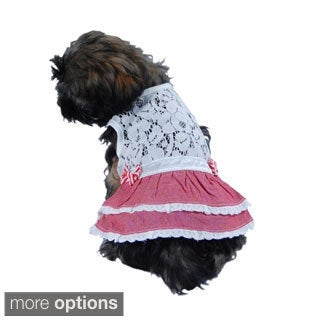 Pet Dog Puppy Clothes Apparel Lace Top with a Bow Vest Skirt Pullover Dress