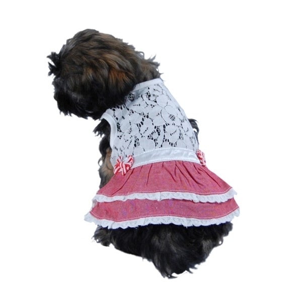 Insten Pet Dog Puppy Clothes Apparel Lace Top with a Bow Vest Skirt Pullover Dress