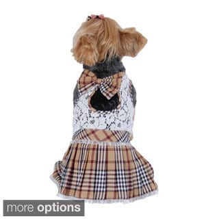 Dog Pet Puppy Clothes Clothing Lace Plaid Skirts Dress Summer